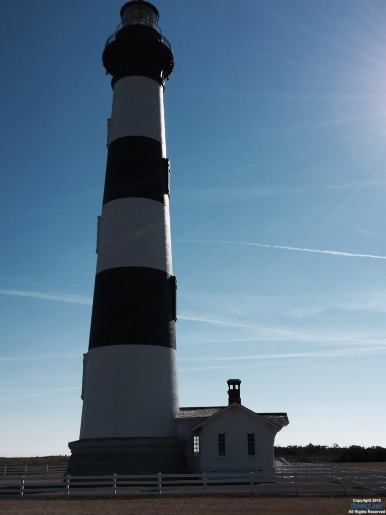 Side of the lighthouse with a nice cast from the sun.