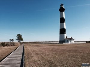 Bodie Island Lighthouse facing the Ocean