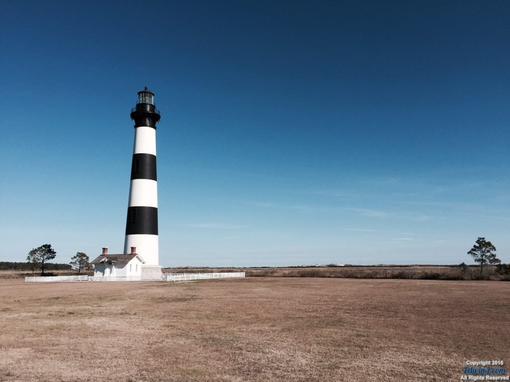 View of the Bodie Island Lighthouse looking toward the sound.