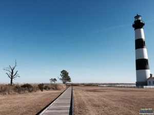 Bodie Island Lighthouse walkway toward the observing deck.