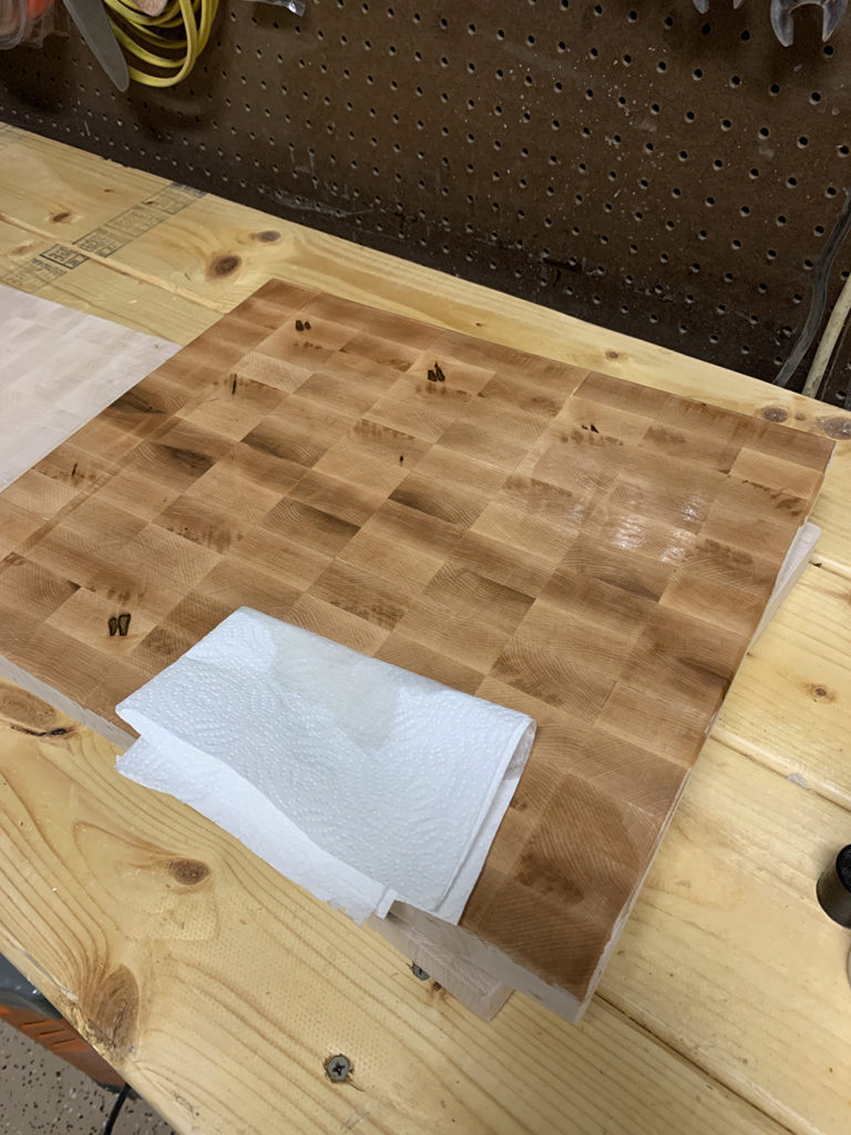 Always remember to oil with mineral oil after you build an end-grain cutting board.